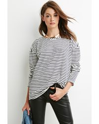 Forever 21 - Natural Nautical Stripe Oversized Top - Lyst
