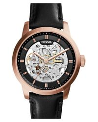 Fossil Pink 'townsman' Automatic Leather Strap Watch