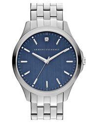 Armani Exchange - Blue Diamond Marker Bracelet Watch for Men - Lyst