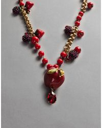 Dolce & Gabbana - Red Apple Necklace - Lyst