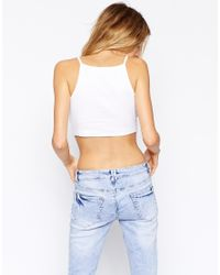 ASOS - White Cami Top With Square Neck - Lyst