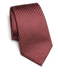 Armani | Red Narrow Track Stripe Silk Tie for Men | Lyst