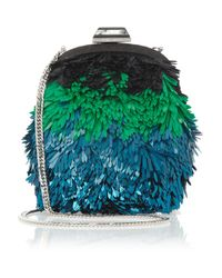 Jimmy Choo | Blue Castina Sequined Shoulder Bag | Lyst