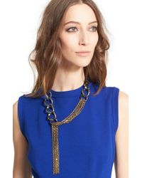 Lanvin | Metallic Chain Link & Leather Necklace - Crystal | Lyst