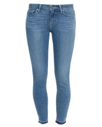 PAIGE | Blue Skinny Un-done Hem Jeans | Lyst
