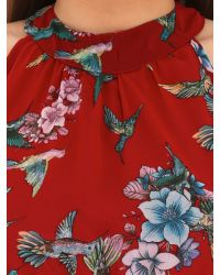 Tenki - Red Bird And Flower Print Dress - Lyst