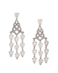 John Hardy | White Classic Chain Moon Quartz, Diamond & Sterling Silver Braided Chandelier Earrings | Lyst