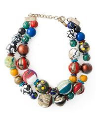Etro | Multicolor Double Layer Large Beaded Necklace | Lyst