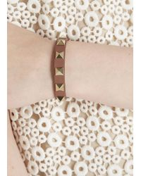 Valentino | Natural Rockstud Taupe Leather Bracelet | Lyst