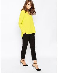 French Connection Yellow Arrow Crepe Top