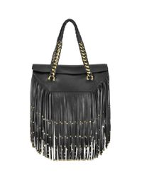 Roberto Cavalli - Regina Black Smooth Lambskin W/Fringe And Studs - Lyst