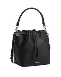 Calvin Klein - Black White Label Scarlett Drawstring Bucket Bag - Lyst