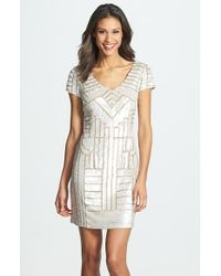 Adrianna Papell | Metallic Sequin Sheath Dress | Lyst