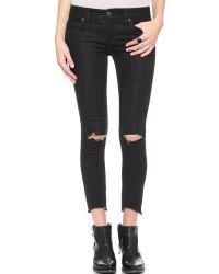 Free People - Destroyed Crop Skinny Jeans - Stark Black - Lyst
