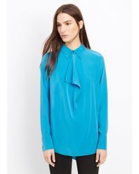 Vince | Blue Silk Cowl Neck Blouse | Lyst