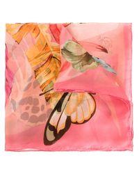 Ferragamo | Pink Butterfly Bouquet Print Scarf | Lyst