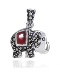Aeravida | Metallic Royal Elephant Red Enamel And Marcasite 925 Silver Pendant | Lyst