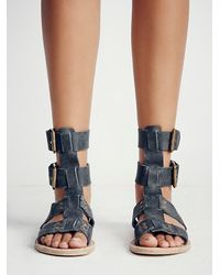 Free People | Black Carlyn Mid Gladiator Sandal | Lyst