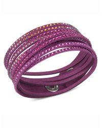 Swarovski | Purple Fuchsia Fabric Crystal Stud Wrap Bracelet | Lyst