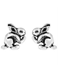 Aeravida - Metallic Adorable Bunny Rabbit Sterling Silver Post Earrings - Lyst