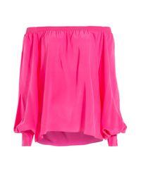 Balmain - Off-the-shoulder Silk Blouse - Pink - Lyst