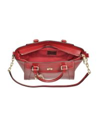 La Martina - La Portena Alejandra Dark Red Saffiano Leather Small Tote - Lyst