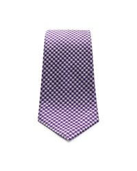 Turnbull & Asser - Large Silk Houndstooth Tie In Purple And White for Men - Lyst