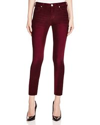 True Religion - Red Halle Corduroy Crop Jeans In Orpheum - Lyst