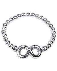 Aeravida - Metallic Infinity Symbol Elastic Bead Ball Sterling Silver Ring - Lyst