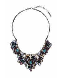 TOPSHOP | Multicolor Rhinestone Cluster Bib Necklace | Lyst
