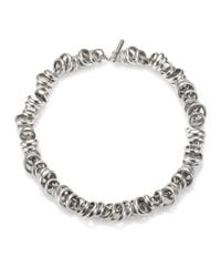 Pomellato | Metallic Sterling Silver Ringed Chain Link Toggle Necklace | Lyst
