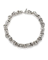 Pomellato - Metallic Sterling Silver Ringed Chain Link Toggle Necklace - Lyst