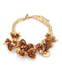 Oscar de la Renta | Metallic Crystaladorned Floral Bib Necklace | Lyst