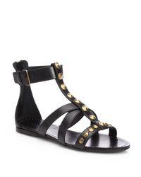 Miu Miu - Black Studded Leather Tstrap Sandals - Lyst