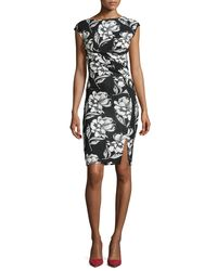 French Connection - Multicolor Shadow Bloom Fitted Printed Dress - Lyst