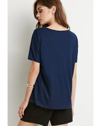Forever 21 | Blue Classic Ribbed V-neck | Lyst