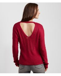 Aéropostale | Pink Back Cutout V-neck Sweater | Lyst