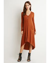 Forever 21 | Orange Longline Ribbed Cardigan | Lyst