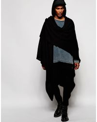 ASOS - Hooded Cape In Black for Men - Lyst