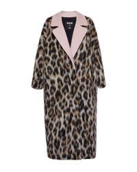 MSGM - Multicolor Leopard Print Wool Felt Overcoat - Lyst