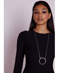 Missguided - Metallic Cut Out Circle Pendant Necklace - Lyst