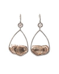 Susan Foster | Metallic Diamond Slice Pavé Whitegold Earrings | Lyst