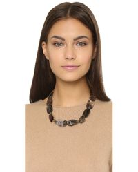 Oscar de la Renta | Gray Quartz Glass Necklace - Burgundy | Lyst