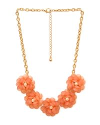 Forever 21 | Orange Ladylike Gathered Floral Necklace | Lyst