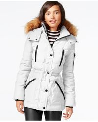 Guess | White Faux-fur-trim Parka | Lyst