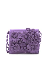 Nancy Gonzalez - Purple Crocodile Flower Chain Bag - Lyst