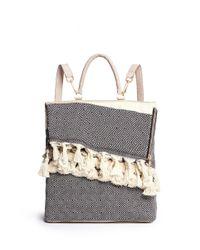 Koza | Blue 'kim' Mini Fringe Tassel Leather Backpack | Lyst