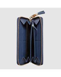 26d630d0a8f28b Gucci Rania Original Gg Zip Around Wallet in Blue - Lyst