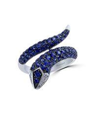 Effy - Blue Royale Bleu Sapphire, Diamond And 14k White Gold Snake Ring - Lyst