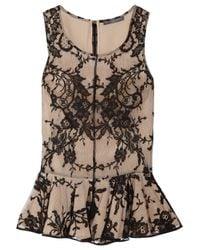 Alexander McQueen - Black Lace and Silk Peplum Top - Lyst